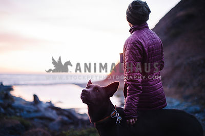A woman and dog enjoying the sunrise over the ocean