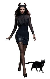 Chic Witch with Cat