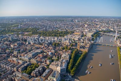 Aerial view of Westminster, Houses of Parliament, Victoria, London.