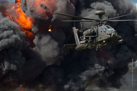 #120873  Explosion, part of the Apache helicopter display at the Farnborough Air Show, 2016.