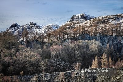 TILBERTHWAITE 08A - The Langdale Pikes from Hodge Close Quarry