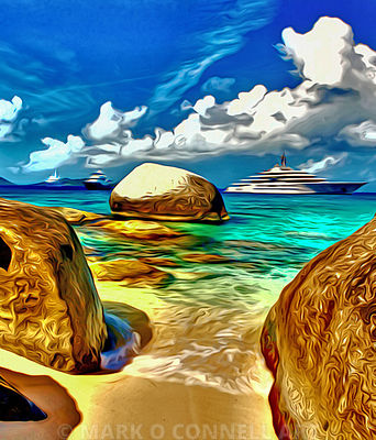 art,painting,airbrush,eclipse,lurssen,virgin gorda,caribbean,water,ocean,sea,beach,rocks,clouds