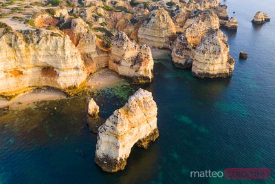 Aerial view of the rocky coastline of Lagos, Algarve, Portugal