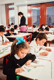 #4784,  Primary kids in block F, The Lord Byron School, Leninakan (now Gyumri), Armenia.  At 11.41am on the 7th December 1988...