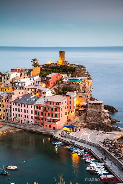 Dusk in the Cinque Terre, Liguria, Italy