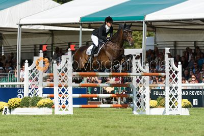 Hazel Towers and SIMPLY CLOVER, showjumping phase, Land Rover Burghley Horse Trials 2018