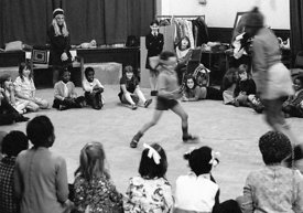 #74651,  Anna Scher Children's Theatre, Bentham Court Hall, Islington, North London 1972.  Kids would come after school and b...
