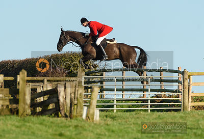 Joss Hanbury jumping a fence off Hades Lane. The Quorn Hunt at Fox Covert Farm 10/1
