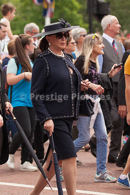 Well dressed woman walking with the crowd towards Buckingham Palace