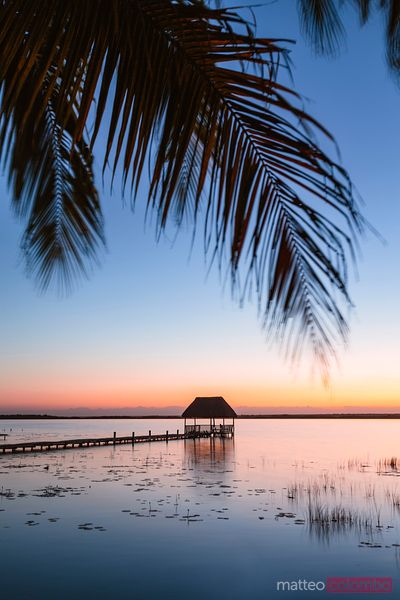 Pier at sunset, Laguna Bacalar, Mexico
