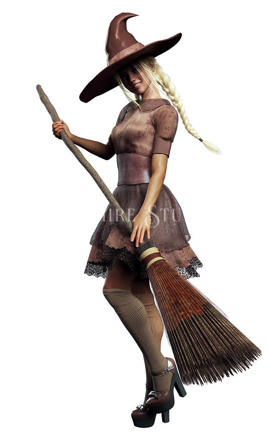 Lolita Style Witch with Broom