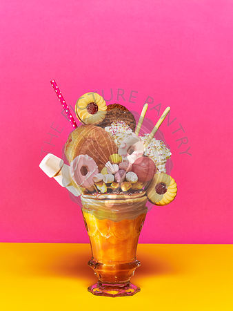 Dougnut freak shake with biscuits, doughnut, cream and marshmallows