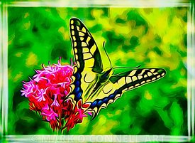 art, butterfly, flowers, green, painting, red, yellow