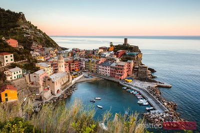 Sunset at the fishing village, Cinque Terre, Italy