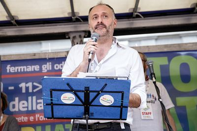 "Demonstration ""Stop Hate"" against homophobia and cyberbullying. Luca Paladini, spokesperson of the Italian grassroots organiz..."