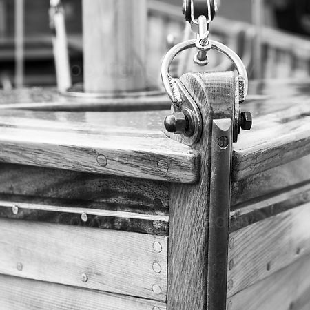 Wall art close up of the bow of a wooden boat BW