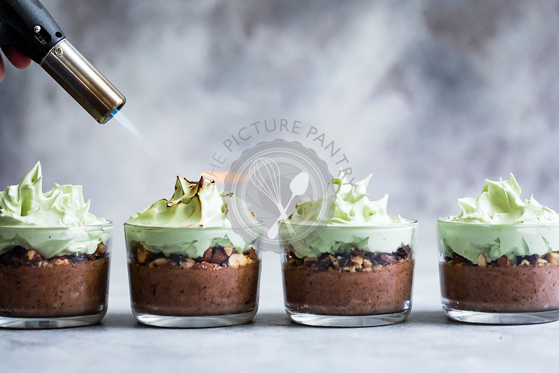 Mint Chocolate Mousse with Toasted Matcha Meringue