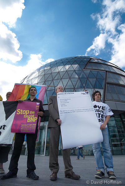 "UAF (Unite Against Fascism) deliver an ""eviction order"" against the BNP's GLA member Richard Barnbrook. City Hall June 19, 2008."
