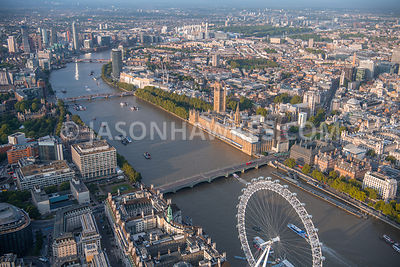 Aerial view of Palace of Westminster (Houses of Parliament) Westminster and River Thames, London.