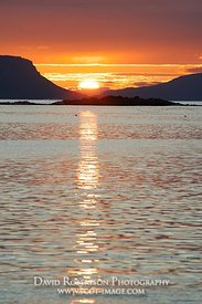 Image - Sun setting between Rum and Eigg from near Arisaig, Morar, Scotland