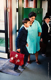 #4648,  Students arriving at The Lord Byron School, Leninakan (now Gyumri), Armenia.  At 11.41am on the 7th December 1988, Ar...