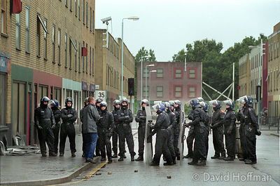 Police officers being trained in riot control tactics at the Public Order training Centre, Hounslow, London 2002.