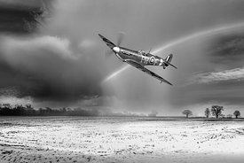 Spitfire with snow shower rainbow BW version