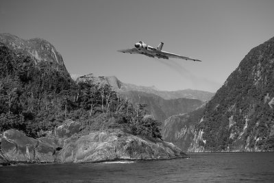 Vulcan leaving Milford Sound B&W version