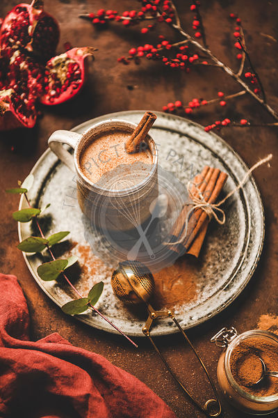 Turkish traditional wintertime hot drink Salep in mug