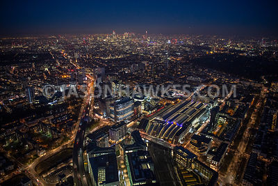 Night aerial view of Paddington, Paddington Basin, Paddington Staytion, London.
