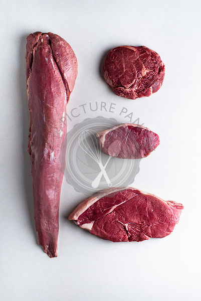Fillet, Rump, Sirloin, Ribeye, raw comparison