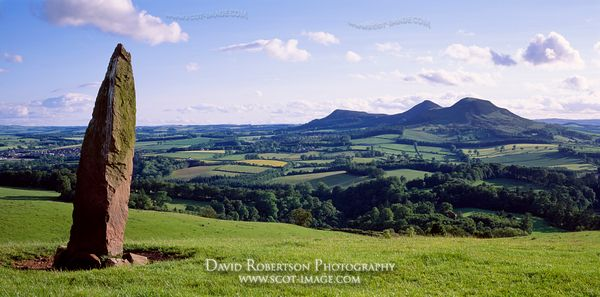 Image - Panoramic, Eildon Hills from Bemersyde Hill standing stone, Scotland