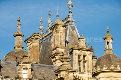 Turrets and domes on the roof of Waddesdon Manor near Aylesbury