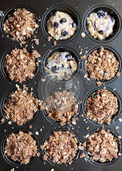 Blueberry muffin batter with oat crumble.