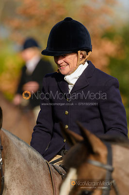 Lady Sarah McCorquodale at the meet. The Belvoir Hunt at Stonesby 5/2