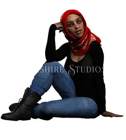 Urban Fantasy Girl in Jeans and Hijab