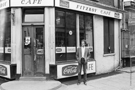 #74854,  Cornelius Cardew (1936-1981), avant-garde musician and composer, outside his favourite cafe, Fitzrovia, London.  3rd...