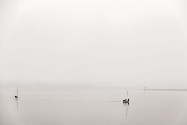 Boats on Loch Linnhe in the morning mist.