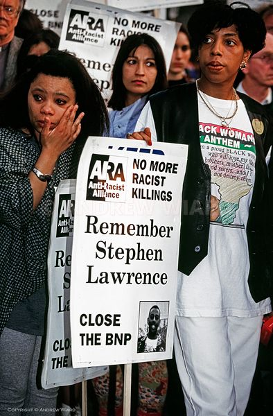 England, UK . 29.4.1993. London . Well Hall Road, Eltham. A week after the murder of Stephen Lawrence a candlelight vigil at ...