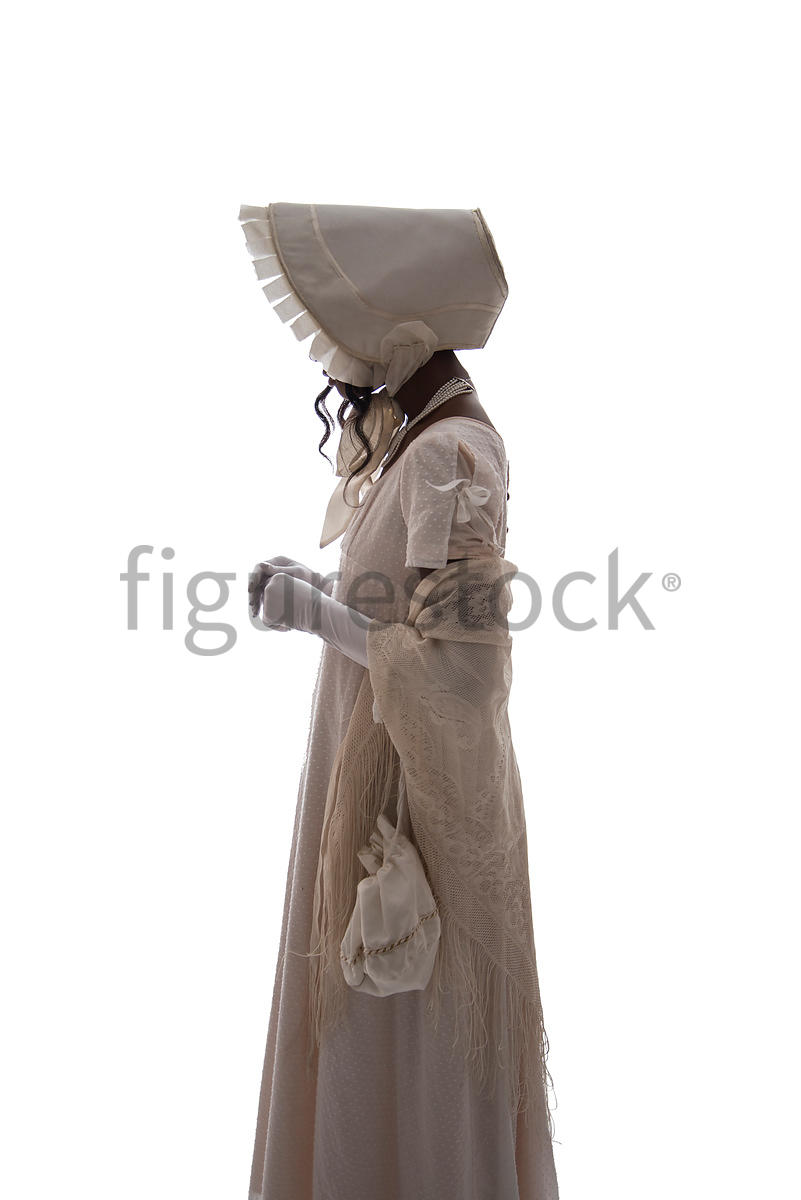 A semi-silhouette of a Regency woman in a white dress – shot from eye level.