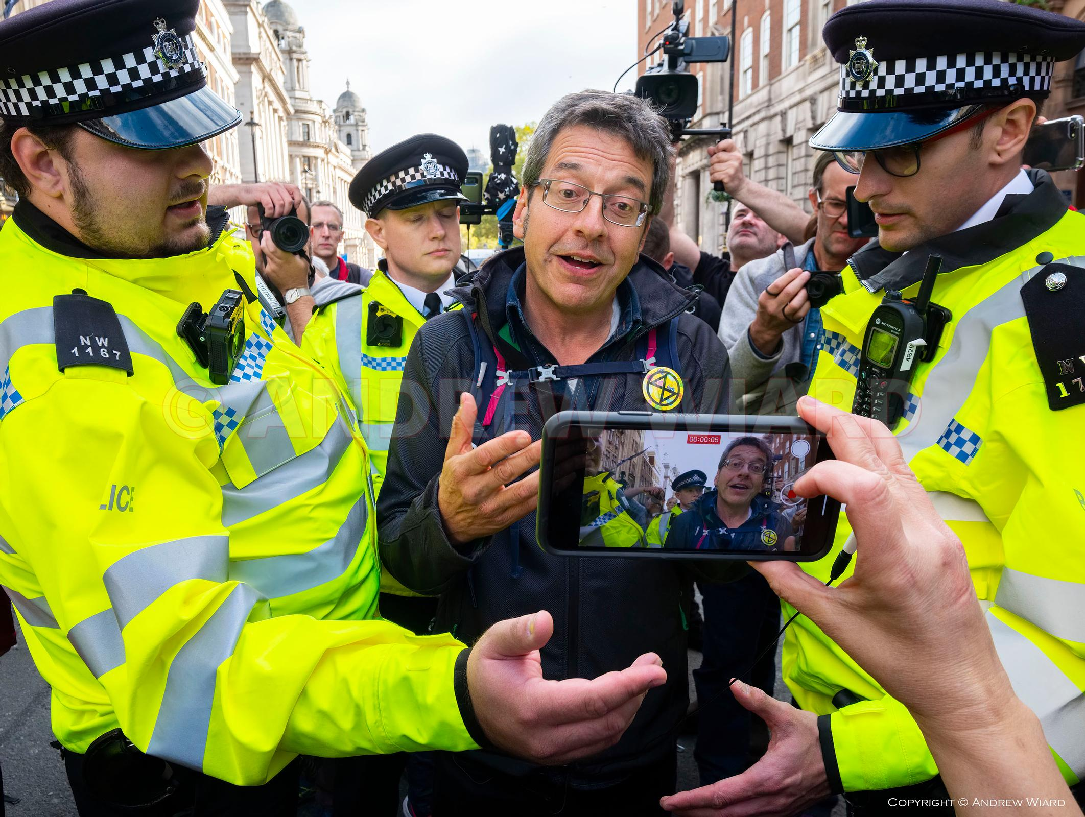 England, UK . 16.10.2019. London . Trafalgar Square. Extinction Rebellion demonstrate in defiance of a Metropolitan Police Se...