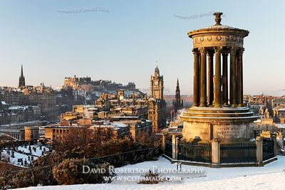 Image - The Dugald Stewart Monument on Carlton Hill and Edinburgh Castle, Scotland