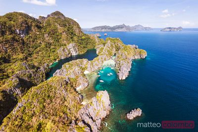 Aerial view of island with lagoons, El Nido