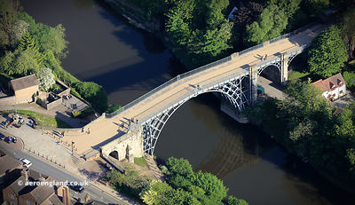 The Iron Bridge at Ironbridge Gorge Telford aerial photograph
