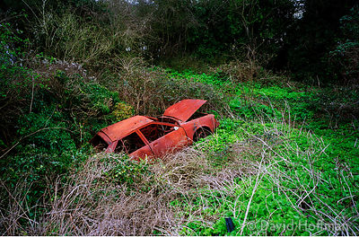 Stolen car dumped by joy riders on Cooling Marshes near Cliffe on the Kent coast. Thames Estuary, UK. © David Hoffman phone 0...