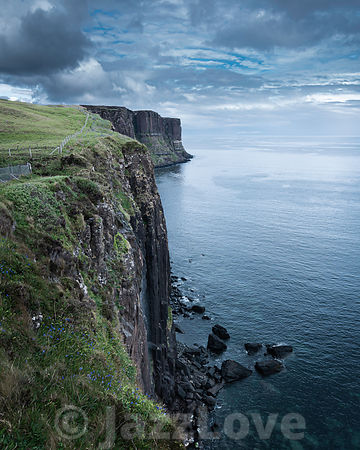 Kilt rock and Mealt falls on Isle of Skye, Scotland, UK.