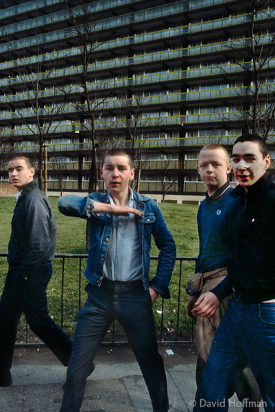 Youths on estate in Peckham, South London.