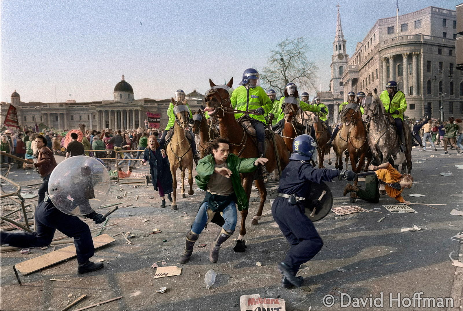 30 YEARS ON. ANTI POLL TAX RIOT IN TRAFALGAR SQUARE, LONDON MARCH 31, 1990.
