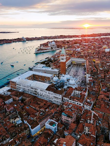 Aerial of St Mark's square at sunset, Venice, Italy