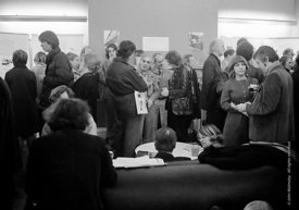 #77224  Exhibition opening in the Members' Room, Architectural Association School of Architecture, London  1975.